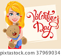 Beautiful woman in red dress holding teddy bear 37969034