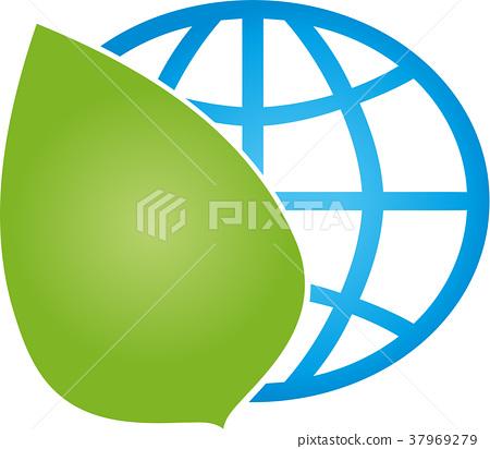Earth, globe, world globe, leaf, logo 37969279