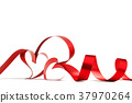 Red heart ribbon bow 37970264