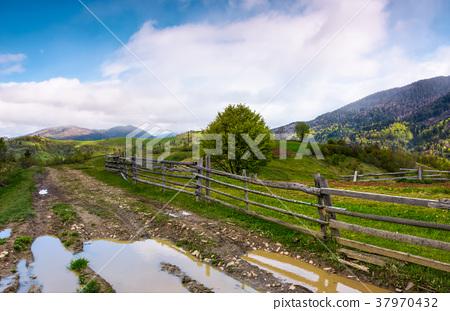country road through mountainous rural area 37970432