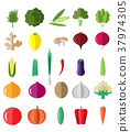 Fresh and tasty vegetables icon set. 37974305