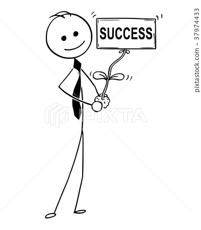 Cartoon of Businessman with Plant as Success Sign 37974433