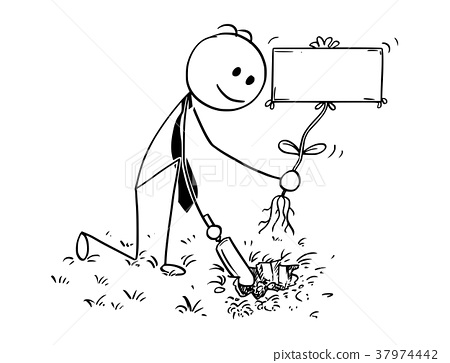 Cartoon of Businessman Digging a Hole for Plant 37974442