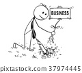 Cartoon of Businessman Digging a Hole for Plant 37974445