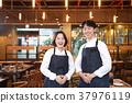 동양인, 미소, 식당 37976119
