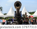 Green cannon of Thai army showing in Children day in Phuket, Thailand 37977313