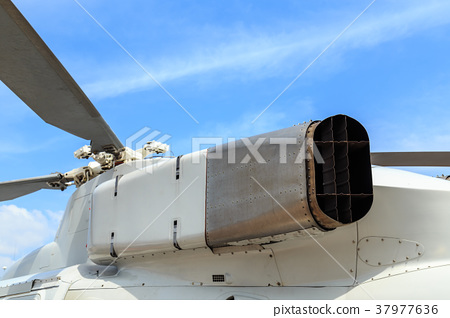 Exhaust pipe helicopter of Thai army on blue sky 37977636