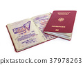 Germany passports and visas isolated on white background 37978263