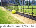 Tennis court with tennis ball 37978343
