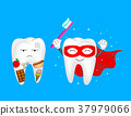 Funny cartoon tooth holding toothbrush.  37979066