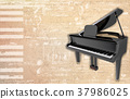 abstract grunge background with grand piano 37986025