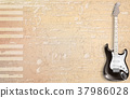 beige grunge piano background with electric guitar 37986028