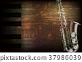 abstract grunge piano background with saxophone 37986039