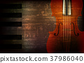 abstract grunge music background with violin 37986040