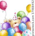 Cute Teddy bear with the colorful balloons. 37988492