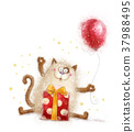 Cute cat. Birthday invitation.Birthday party.  37988495