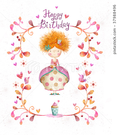 Happy Birthday Card Party Invitation Stock Illustration