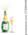 Bottle of champagne with splashe.Happy Birthday.  37988498