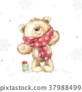 Cute teddy bear with the gift. Merry Christmas.  37988499