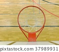 Interior of school gym with basketball board 37989931