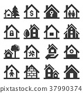 House Icons Set on White Background. Vector 37990374