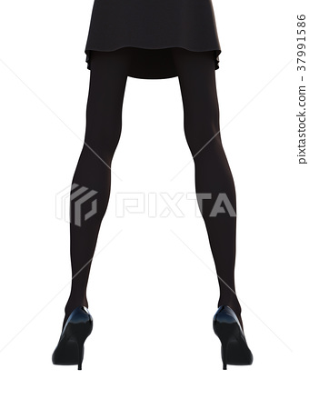 Stocking image Women's leg perming3DCG Illustration material 37991586