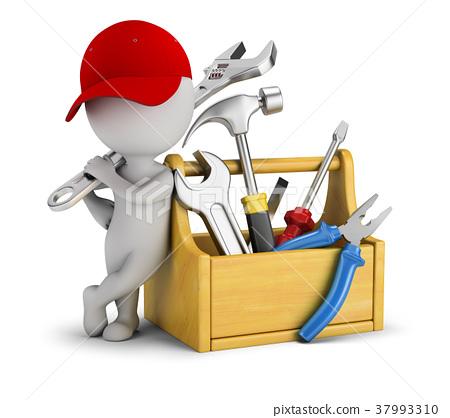 3d small people - repairman near the toolbox 37993310