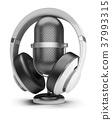 retro microphone and headphones 37993315