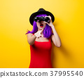 hipster girl with purple hairstyle and binoculars 37995540