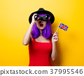 girl with binoculars and Great Britain flag 37995546