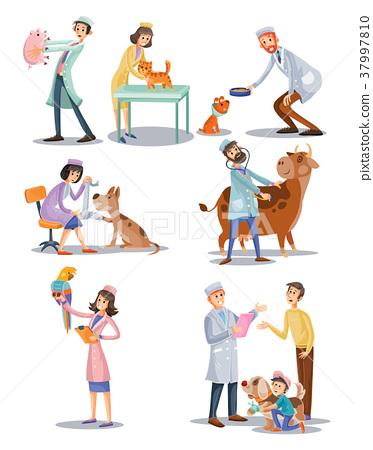 Vector set of professional vet doctors, animals 37997810