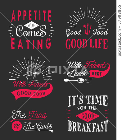 Set of vintage food typographic quotes 37998865
