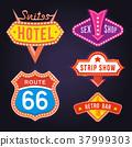 Set of Retro Neon Signboards 37999303