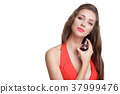 woman in red dress with perfume 37999476