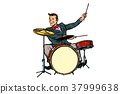 retro drummer behind the kit 37999638