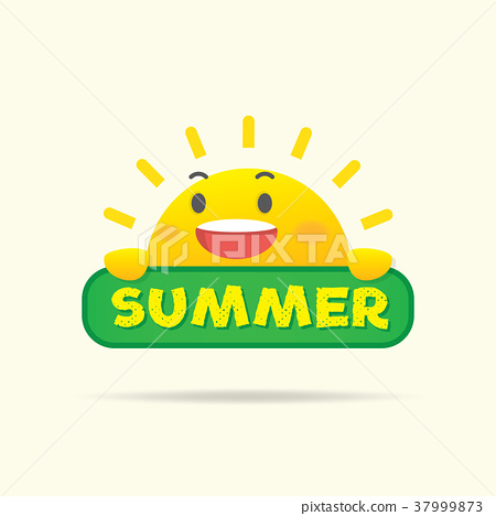 Sun character on the summer tag heading design 37999873