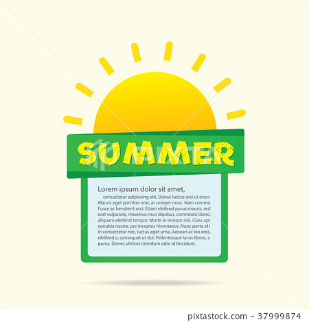 Summer sun with text box heading design and layout 37999874