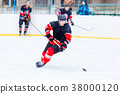 Young skater man in attack. Ice hockey game 38000120