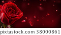 Valentines and wedding border from red roses. 38000861