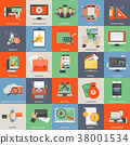 Business, finance, education and technology icons 38001534
