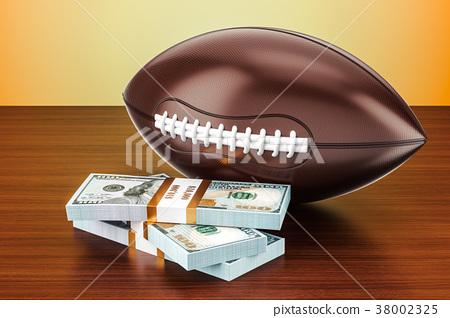 American football ball with dollar packs 38002325