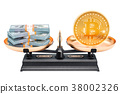 Balance concept, bitcoin and dollar. 3D rendering 38002326