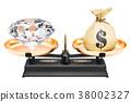 Balance concept, diamond and money. 3D rendering 38002327