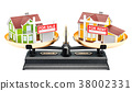 Balance concept, rent or sale house. 3D rendering 38002331