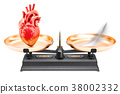 Balance concept, scales with heart and feather 38002332