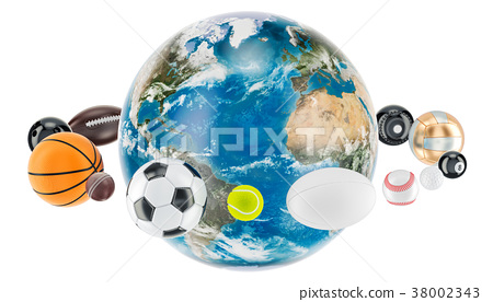 Earth Globe with sport balls around. 3D rendering 38002343
