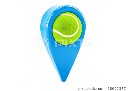 Map pointer with tennis ball, location concept 38002377