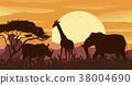 scene, silhouette, animal 38004690