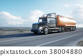 Gasoline tanker, Oil trailer, truck on highway 38004880