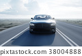 Black luxury car on road, highway. Daylight. Very 38004888